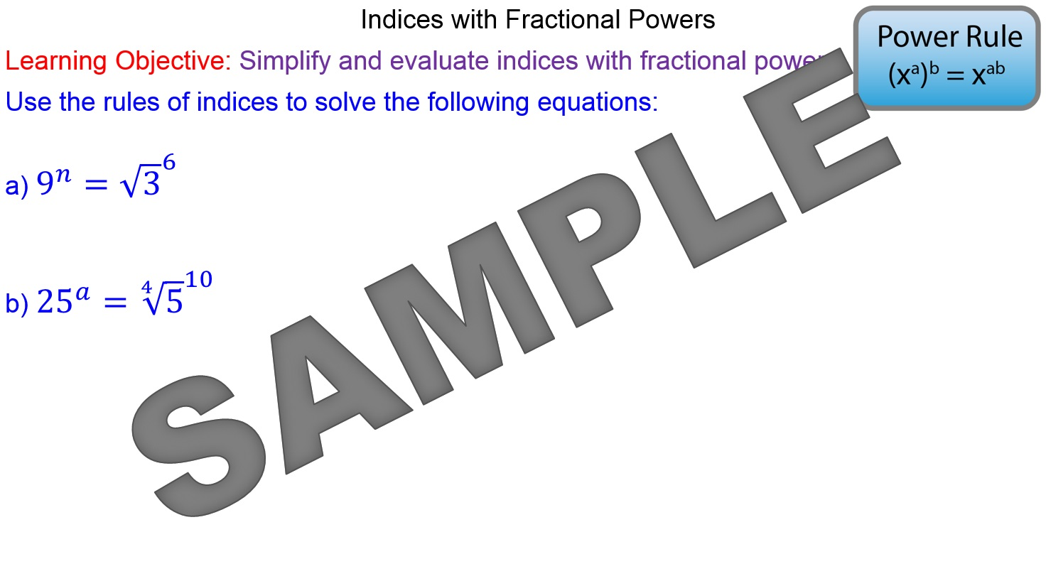 Indices with Fractional Powers MrMathematics – Fractional Powers Worksheet