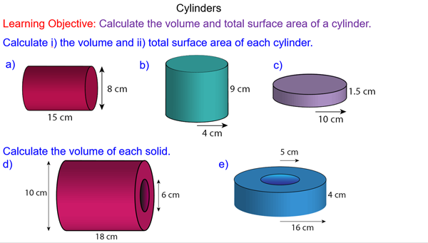 Cylinder Total Surface Area And Volume