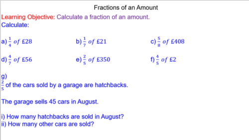 Calculating a Fraction of an Amount