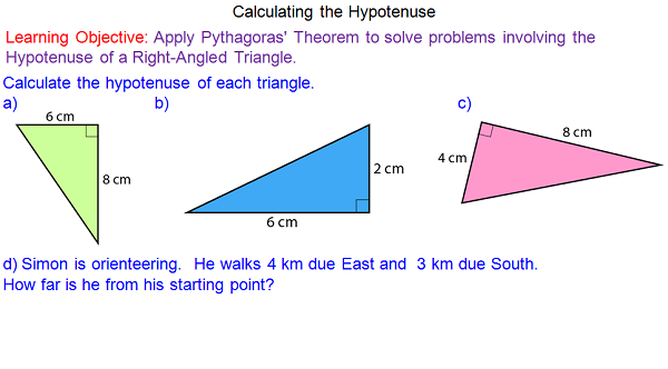 describing the concept of the hypotenuse in any right angled triangle Introduction to trigonometry: hypotenuse, learn the names of the sides of a right triangle (hypotenuse, adjacent, opposite) and how they are used in trigonometry, examples and step by step solutions, sohcahtoa, trigonometric functions, trigonometric angles, inverse trigonometry, trigonometry problems.