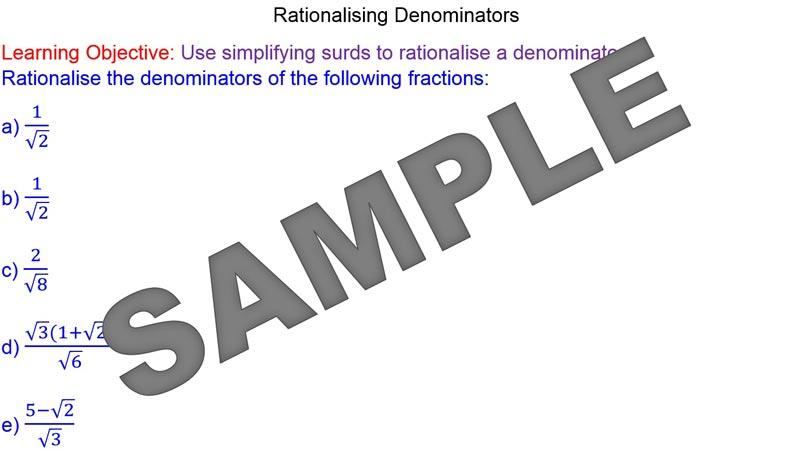 Rationalising Denominators Mr Mathematics