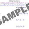 Solving Quadratics by Factorising