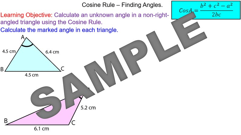 how to find angle using cosine rule