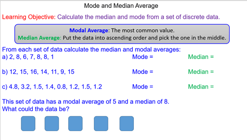Median and Mode Averages
