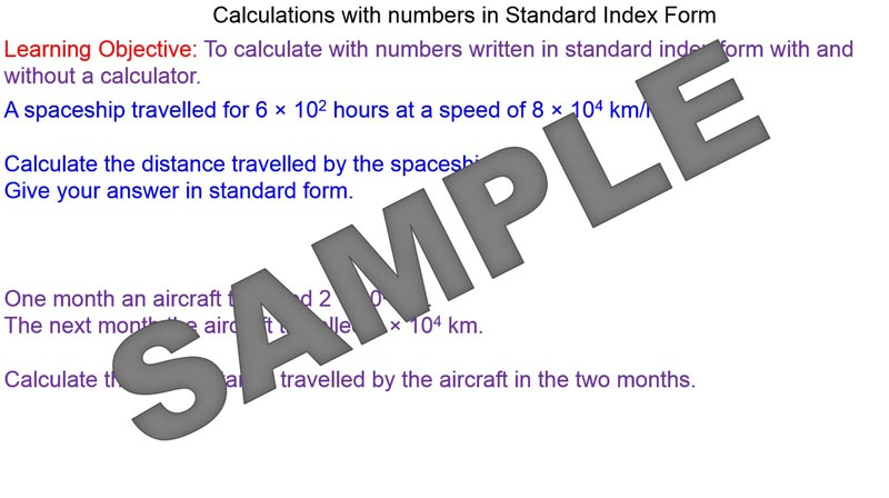 Calculations With Standard Index Form