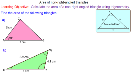 Trigonometry - Area of Triangles