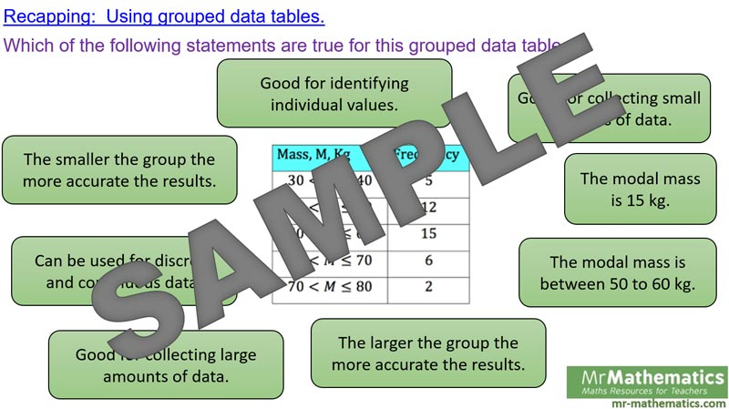 Mean Average From Grouped Data Mr Mathematics