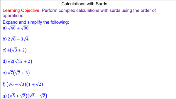 Calculations with Surds