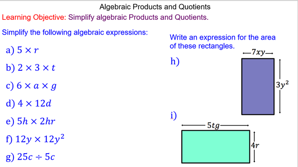 Simplifying Algebraic Products