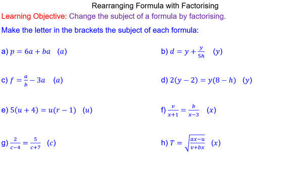 Rearranging Formulae by Factorising - Mr-Mathematics.com