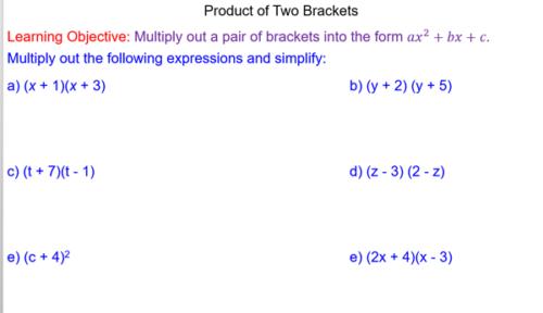 Expanding Quadratics