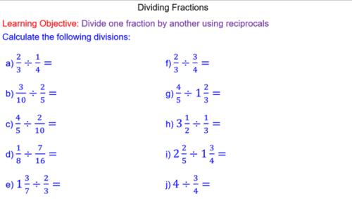 Dividing Fractions and Mixed Numbers