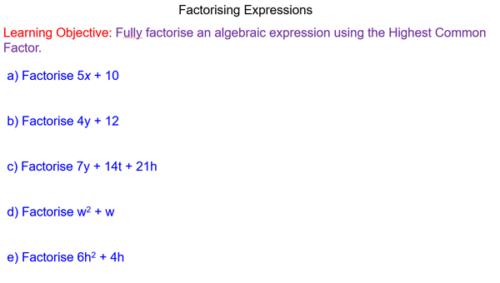 Factorising Expressions