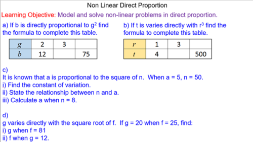 Non-Linear Direct Proportion