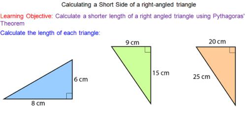 Pythagoras' Theorem - Shorter Sides