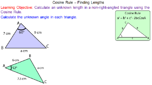 Cosine Rule - Finding Lengths
