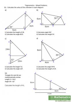 Trigonometry - Problems with Right-Angled Triangles - Mr-Mathematics com