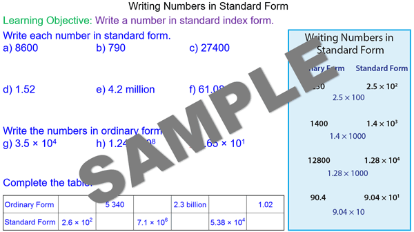 Large Numbers In Standard Form Mr Mathematics