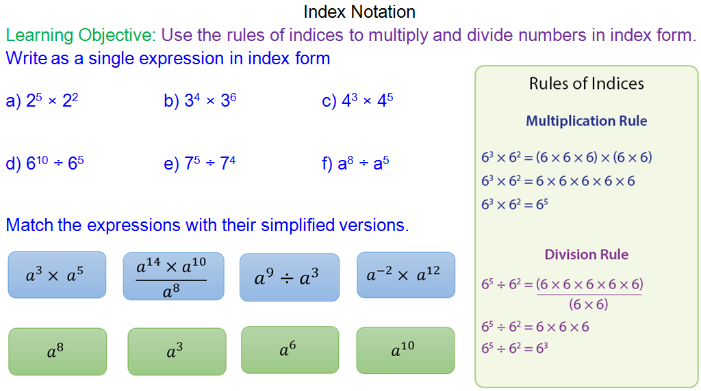 Simplifying numbers written in index form
