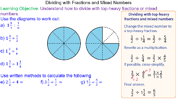 Dividing Mixed Numbers and Top-Heavy Fractions - Mr-Mathematics.com
