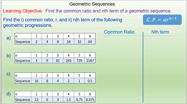 nth term of a geometric sequence