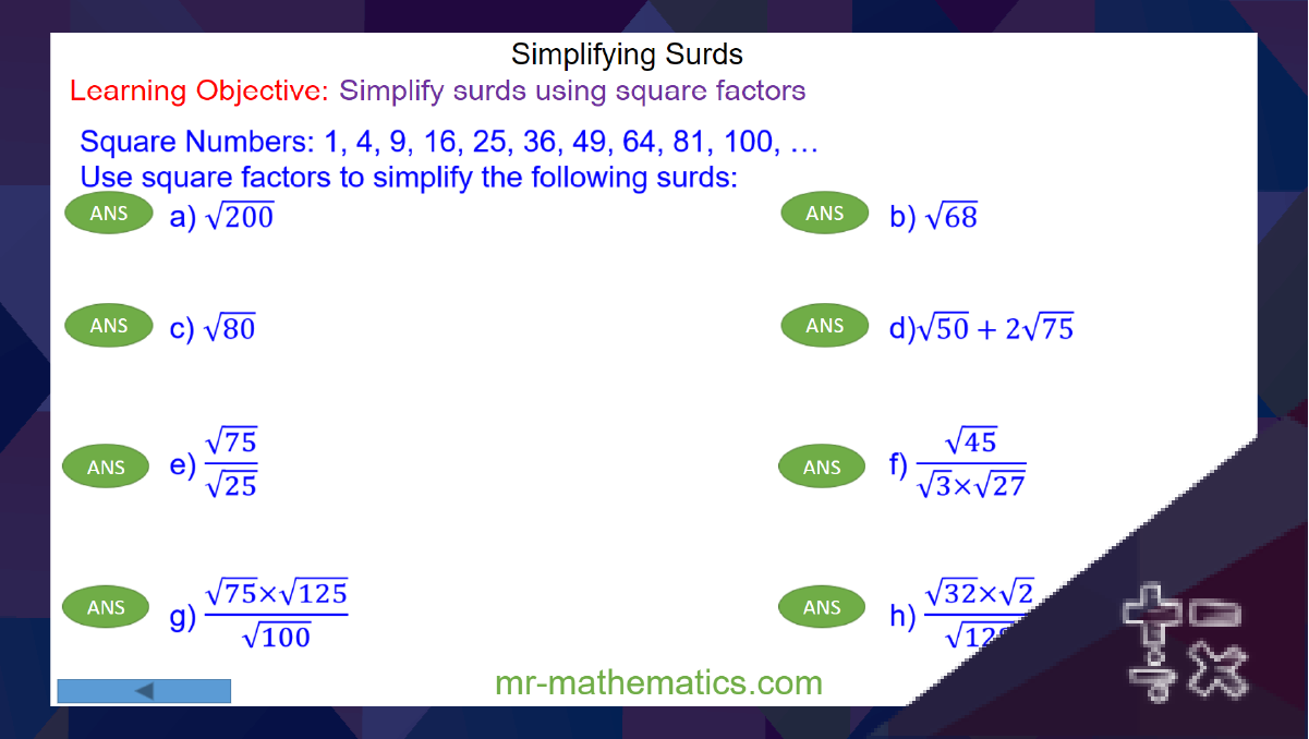 How to Simplify Surds