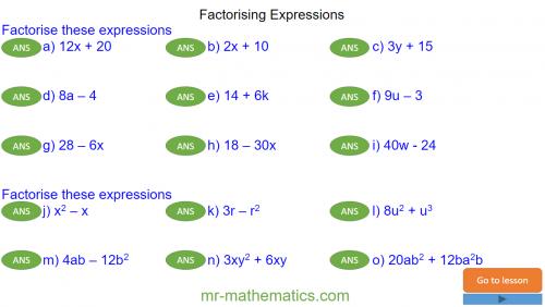 Revising Factorising Expressions
