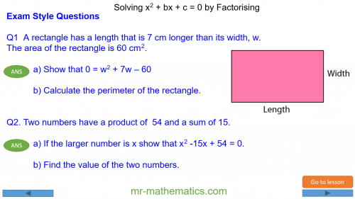 Revising Solving Quadratics by Factorisation