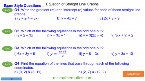 Revising the Equation of Straight Line Graphs