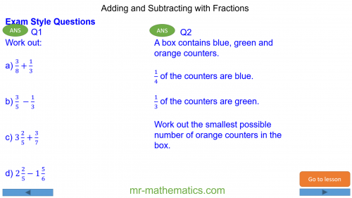 Revising Adding and Subtracting Fractions