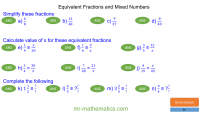 Revising Equivalent Fractions and Mixed Numbers