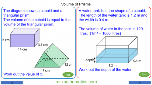 Revising Volume of Prisms