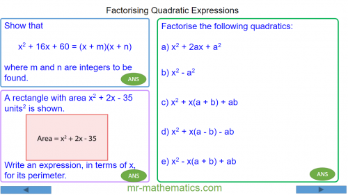 Revising Factorising Quadratics