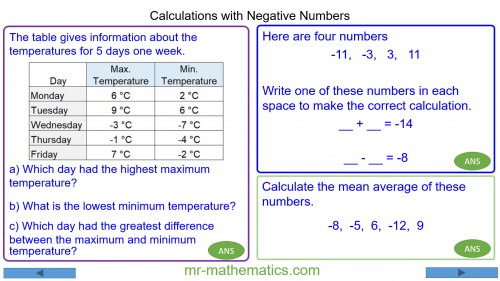 Revising Calculations with Negative Numbers
