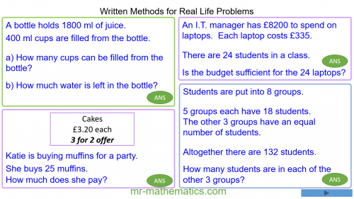 Revising Written Methods for Real Life Problems