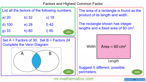 Revising Highest Common Factors