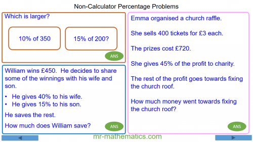 Revising Non-Calculator Percentage Problems