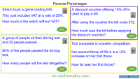 Revising Reverse Percentages