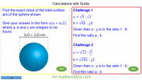 Revising Calculations with Surds