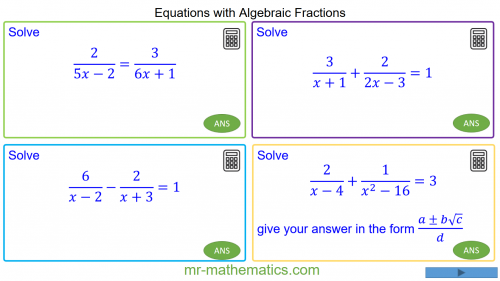 Revising Equations with Algebraic Fractions