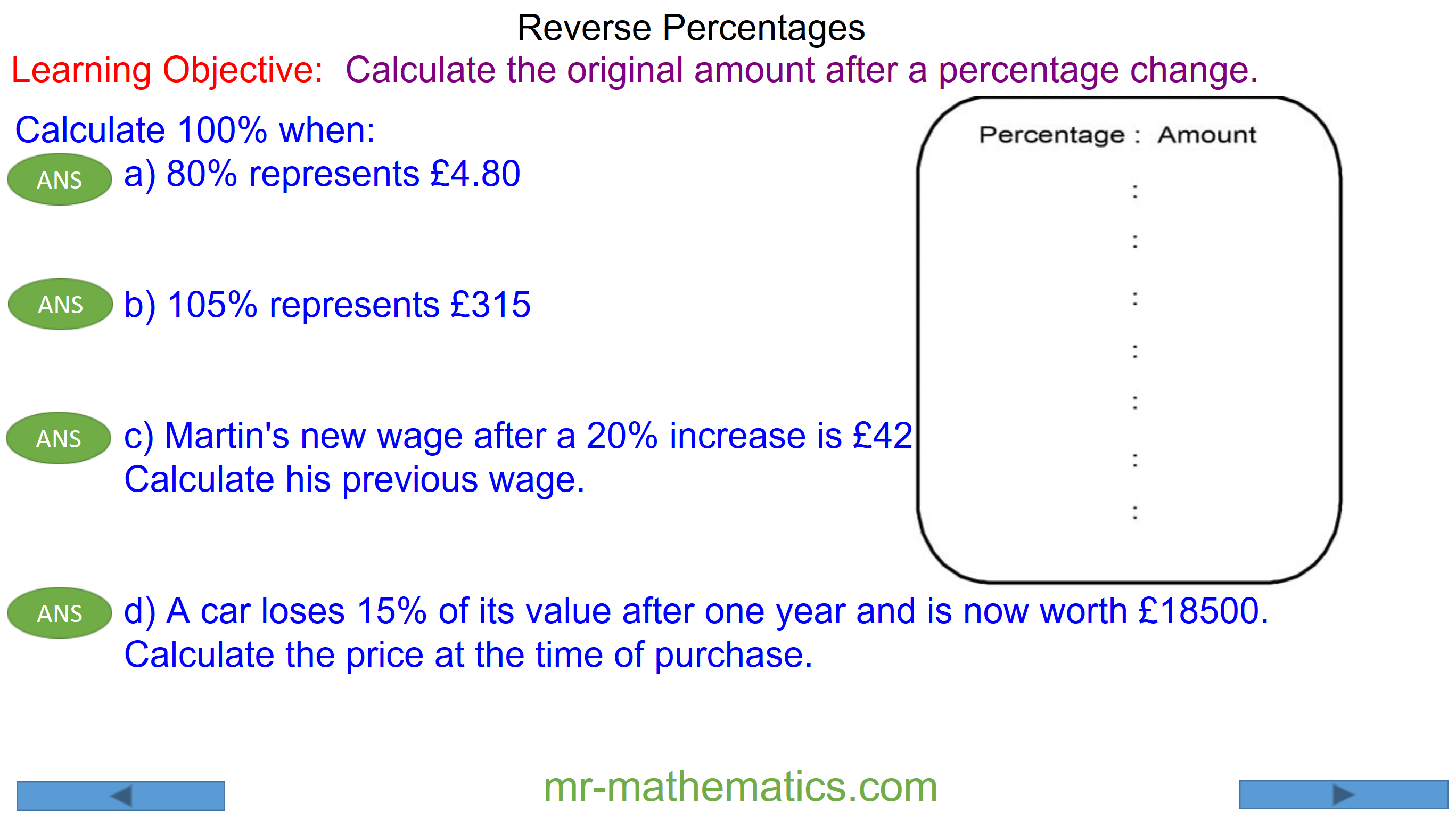 Calculating a Reverse Percentage