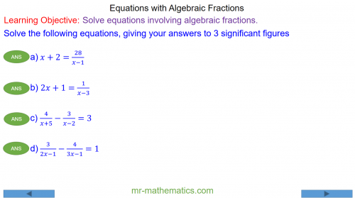 Quadratic Equations with Algebraic Fractions