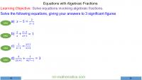 Quadratic Equations with Algebraic Fractions