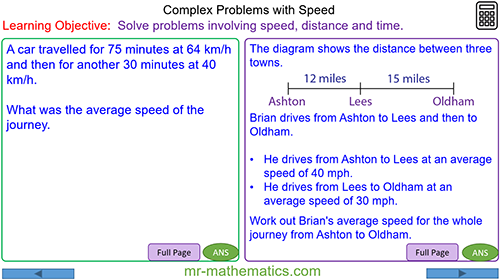 Complex Problems Involving Speed