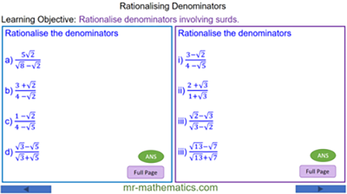 Rationalising Denominators using the Complex Conjugate