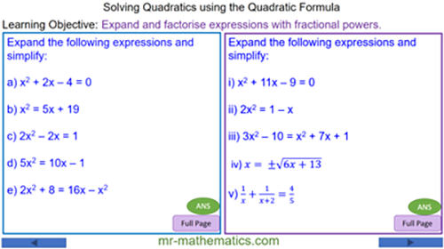 Solve Quadratic Equations using the Formula