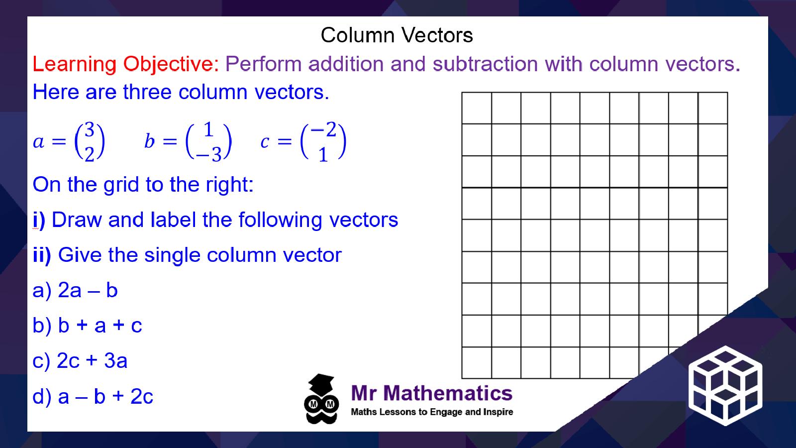 Writing a Single Column Vector