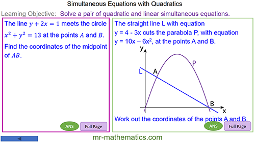 Solving Quadratic and Linear Simultaneous Equation by Substitution