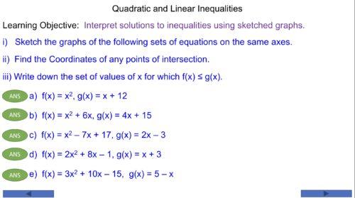 Quadratic and Linear Inequalities
