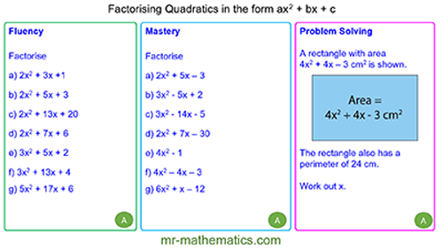Extended Learning - Factorising Quadratics